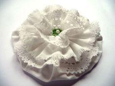 Shabby Blume Vintage Spitzen Perlen Stoffblume Hochzeit Landhaus Handarbeit