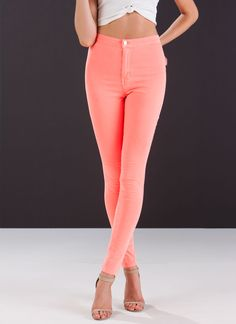 Nothing But Neon High-Waisted Jeans