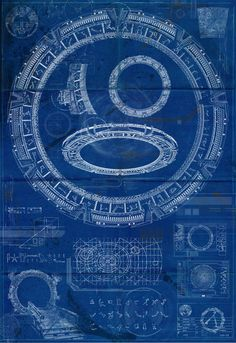 Stargate SG-1 Blueprint Poster Art Print. This evocative illustrative print would make a great addition to the home of any StarGate fan. The print features several views of the Stargate and associated images on a distressed and aged looking blueprint. PRINT SIZES: Prints are sized to
