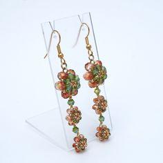Beadwoven Triple Blossom Earrings by ThoughtfulDog on Etsy