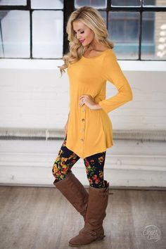 c22c64c47a8 Push My Buttons Tunic - Mustard