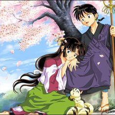 Miroku and Sango with Kirara by the cherry blossom tree from Inuyasha Miroku, Kirara, Me Me Me Anime, Anime Love, Inuyasha And Sesshomaru, Narusaku, Cherry Blossom Tree, Sword Art Online, Matilda