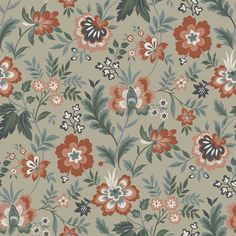A whimsical wallpaper with a modern Jacobean flair, this floral design is truly charming. Popping red and pink blossoms effortlessly complement sage leaves and a grey background. Athena is an unpasted, non woven wallpaper.