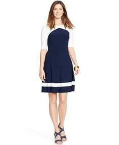 American Living Elbow-Sleeve Colorblocked Dress at Macys for $69