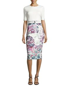 Darcele+Luminated+Bloom+Floral-Print+Belted+Sheath+Dress,+White/Purple+by+Ted+Baker+London+at+Neiman+Marcus.