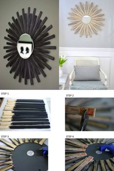 paint stick sunburst mirror Awesome idea, Great addition to a home.
