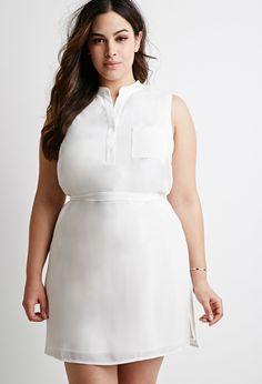 Plus Size Belted Chiffon Shirt Dress