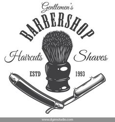 Vintage barbershop emblem with razor and shaving brush. Click to the link to find more barbershop elements, badges, emblems and designs. #vectorillustration #vector#illustration #design #dgimstudio #barber #barbershop #hairdresser #razor #brush Barber Shop Interior, Barber Shop Decor, Shop Interior Design, Gentleman Haircut, Brush Tattoo, Barbershop Design, Barbershop Ideas, Barber Logo, Barber Apron