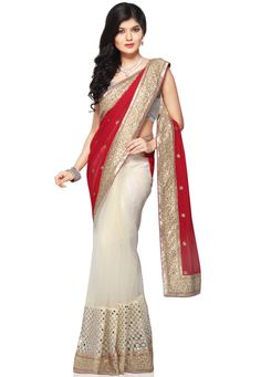 Red and Off White Faux Georgette and Net Saree with Blouse