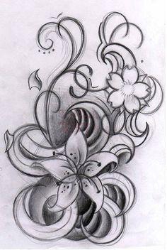 Curly Flowers By Willemxsm Tattoo Designs 11847, Tattoo-Designs Tattoo Gallery