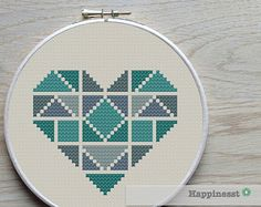 geometric modern cross stitch pattern heart, valentine heart, small, tangram style, PDF pattern ** instant download**
