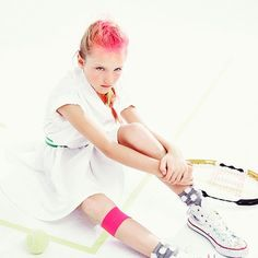 Sneak Peek of New Sport Story For La Petite's Spring/Summer Issue!  Model Skyler Wearing Armani! Photographer Amanda Pratt Hair and Makeup Konstanze Shot at Dune Studios.  #kidsstylist #michelonofrio #fashionstylist #childmodels #tweenfashions #monpetite #converse #hightops #fifth #tricofield #pokadotsocks #punk #pink #sport #tennis #dunestudios