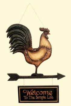 Country Primitive Farmhouse WELCOME TO SIMPLE LIFE Rooster Hanging Sign Plaque