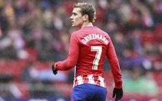 Download wallpapers Griezmann, rain, football stars, goal, Atletico Madrid, soccer, Antoine Griezmann, La Liga, footballers