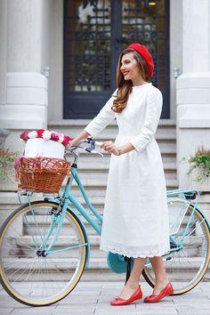 Larisa Costea in Dainty Jewell's modest white Eyelit Dress