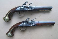 A FINE PAIR OF FRENCH & INDIAN/AMERICAN REVOLUTIONARY WAR PERIOD ENGLISH FLINTLOCK OFFICER'S PISTOLS by
