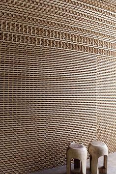 Wall stools - wooden backdrop.