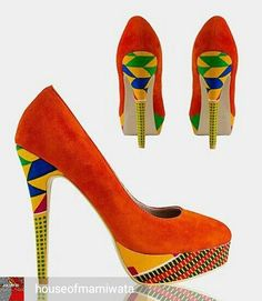 African designed platform pumps