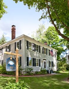 Kennebunkport, ME - At Captain Fairfield Inn,  enjoy a blend of historic and bold-modern styling set among centuries-old Elms and Maples in a quiet neighborhood overlooking the river green — just a 5-minute walk to Kennebunkport restaurants and shopping.