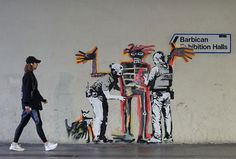 Artist Jean-Michel Basquiat's first large-scale UK exhibition, Boom for Real, opens September at the Barbican. Banksy has marked the Arte Banksy, Banksy Mural, Banksy Canvas, Bansky, Banksy Paintings, Jean Michel Basquiat, Framed Wall Art, Canvas Wall Art, Grafiti