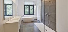 See 59 sleek contemporary and modern master bathroom design ideas. All colors (lots are white though). Wet Rooms, Bad Inspiration, Bathroom Inspiration, Bathroom Trends, Bathroom Renovations, Bathroom Ideas, 5x7 Bathroom Layout, Design Bathroom, Modern Master Bathroom