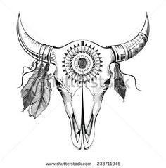 Illustration of Ethnic style, engraving illustration bull skull vector art, clipart and stock vectors. Cow Skull Tattoos, Bull Tattoos, Head Tattoos, Body Art Tattoos, Indian Skull Tattoos, Tatoos, Bull Skulls, Animal Skulls, Deer Skulls