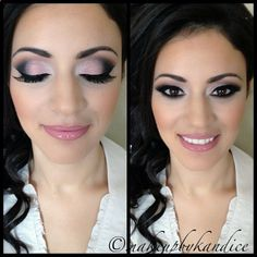 Pink and black eyeshadow look. Sexy eyes. Make up for dark eyes. All MAC: soft brown, saddle, sweet acting and rose pigment, carbon and embark. Haute altitude and soar on lips.