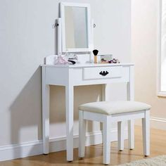 Contemporary White Shaker Style Dressing Table Antique Handle and Stool Set. A modern contemporary style dressing table with a matching padded stool, this vanity set is perfect for every woman's bedroom. Dressing Table Dunelm, Dressing Table With Mirror And Stool, Small Dressing Table, White Dressing Tables, Dressing Room, Contemporary Dressing Tables, Composite Adirondack Chairs, Hanging Chair From Ceiling, How To Dress A Bed