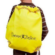 Yellow Softball Drawstring Softball Bags, Neon Yellow, Drawstring Backpack, Backpacks, Sports, Projects, Kids, Hs Sports, Log Projects