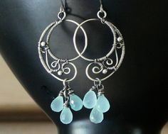 Earrings Sterling Silver Chalcedony - Teal/Blue Green by SimplyBeautiful - Chalcedony - Precious Stone Jewellery - DaWanda
