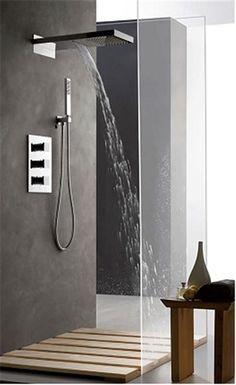 Italian shower set with its waterfall shower or rain shower Source by cecilecourtel Waterfall Shower, Waterfall Faucet, Shower Fixtures, Shower Faucet, Shower Set, Rain Shower, Small Bathroom, Master Bathroom, Bathroom Ideas