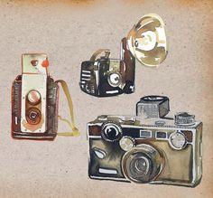 beautiful drawings of old cameras