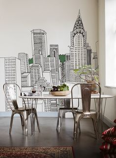 Maybe you could paint this city skyline on the wall with a Sharpie? :)