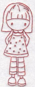 Tiny Teens Redwork 13 single machine embroidery design for instant download.