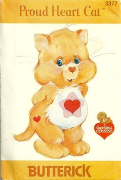 Butterick 3377 1980s Care Bears Sewing Pattern Care Bears Cousin Proud Heart Cat Pattern Vintage Sewing Pattern by patterngate.com
