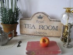 Antiqued Tea Room Sign/ Print for Dollhouse by ALavenderDilly on Etsy https://www.etsy.com/uk/listing/114554088/antiqued-tea-room-sign-print-for