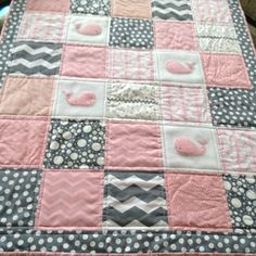 Baby whale quilt in soft pink and gray can be by Lovesewnseams