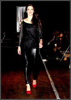 Black open shoulder top - order only Black leather pants - R300
