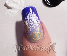 i dont think id actually ever do thi - Disney nails! i dont think id actually ever be able to do this. Love Nails, How To Do Nails, Fun Nails, Pretty Nails, Cinderella Nails, Cinderella Castle, Nailart, Estilo Disney, Nail Blog