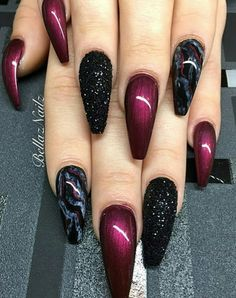 There are three kinds of fake nails which all come from the family of plastics. Acrylic nails are a liquid and powder mix. They are mixed in front of you and then they are brushed onto your nails and shaped. These nails are air dried. Cute Acrylic Nail Designs, Best Acrylic Nails, Nail Art Designs, Nails Design, Dark Nail Designs, Burgundy Nail Designs, Fabulous Nails, Gorgeous Nails, Amazing Nails