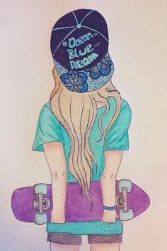 Girl holding a skate board waiting for someone to pike her up