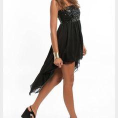 Nwot Strapless Black Hi Low Dress With Sequins