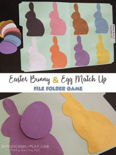 Free printable Easter file folder game for preschool, pre-k, and kindergarten. A fun way to reinforce color recognition skills. Easter Activities For Preschool, Preschool Colors, Easter Games, Free Preschool, Preschool Printables, Time Activities, Preschool Lessons, Spring Activities, Preschool Learning