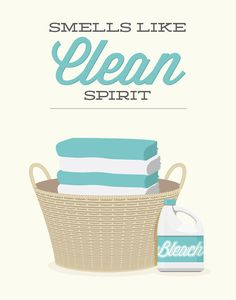 Laundry Room Decor Print Smells like Clean Spirit by noodlehug