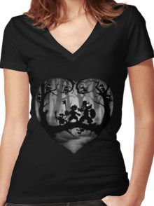 Shadow Fight Women's Fitted V-Neck T-Shirt