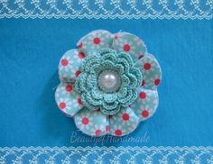Fabric Crochet Flower Aqua and Red Floral Applique Pearl Cabachon Embellishments-Single Flower. $3.50, via Etsy.