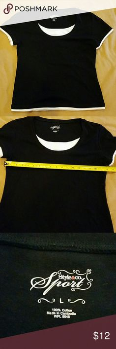 Large layered look black top Shirt appears to have white ribbed shirt underneath.  Good used condition. Bundle up and save Style & Co Tops Tees - Short Sleeve