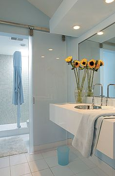 "Glass ""barn door"" & soft blue - BenMoore Blue Seafoam - Stay Inside the Lines - Fine Homebuilding Article Indoor Barn Doors, Glass Barn Doors, Glass Door, Sliding Barn Door Hardware, Sliding Doors, Door Hinges, Entry Doors, Small Bathroom Layout, Small Bathrooms"