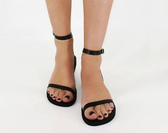Leather Sandals Women, Strappy Sandals, Flat Leather Sandals, Ankle Strap Sandals, Wedding Sandals - LIBERTY