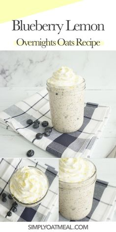 Balanced Breakfast, Clean Eating Breakfast, Healthy Breakfast Smoothies, Breakfast Recipes, Grab And Go Breakfast, Breakfast Ideas, Blueberry Overnight Oats, Overnight Oats With Water, Oatmeal Toppings
